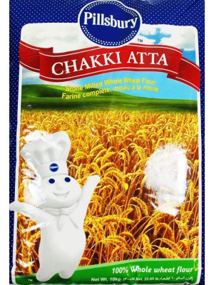 Pillsbury Chakki Atta 10 Kg | 100% Whole Wheat | Full of Fibre | Make Rotis & Chappatis | Traditional Indian Flour | Nutritious | Vegetarian